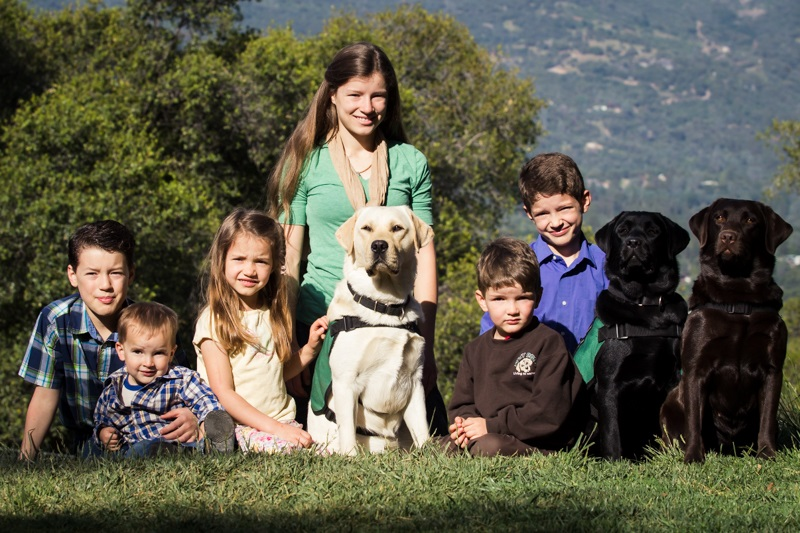 DADS All the kids with all three dogs on ridge - photo by Virginia Lazar