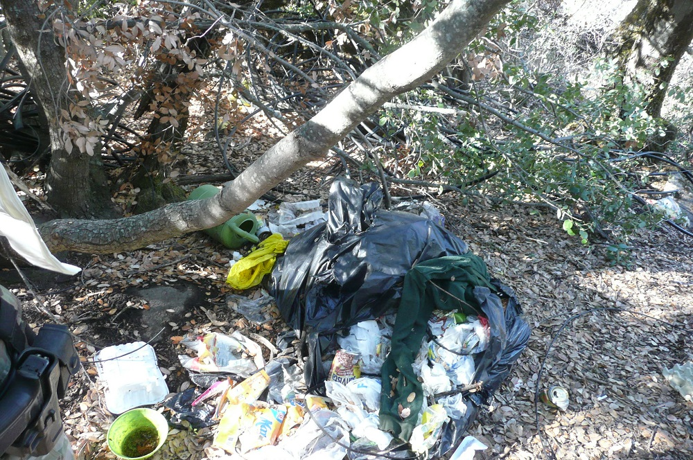 Illegal pot grow cleanup - tons of trash - photo courtesy SNAMP