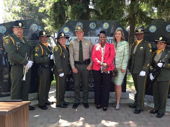 Sheriff Anderson with Honor Guard and Warden of Central California Womens Facility - photo courtesy of MadCo Sheriffs Office