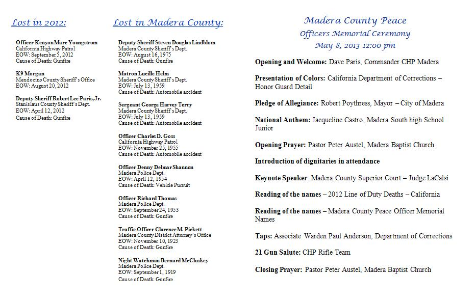 Madera County Peace Officers Memorial Ceremony  5-8-13