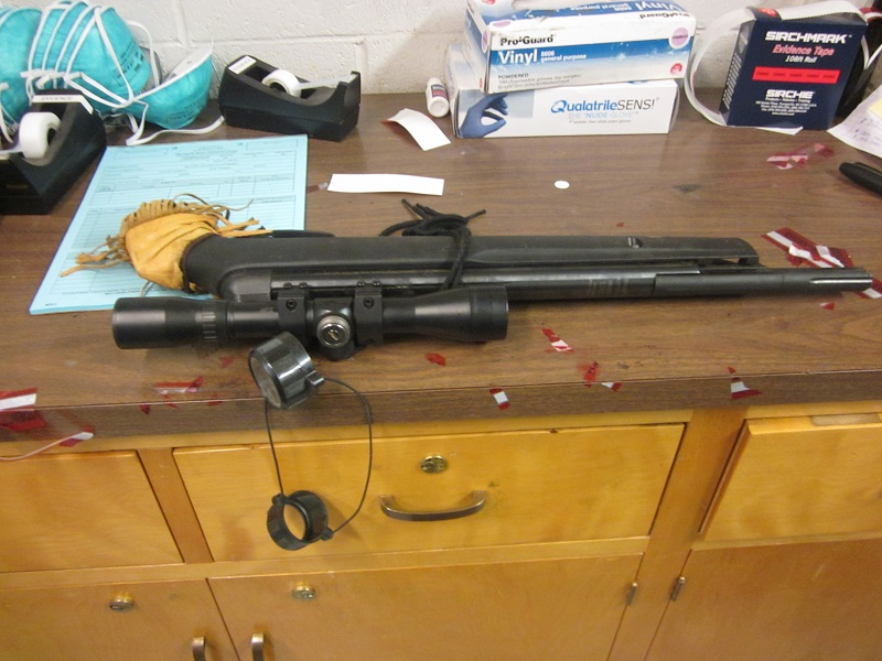 Rifle pellet gun used to threated people inside Mariposa Church - photo Mariposa Co Sheriff