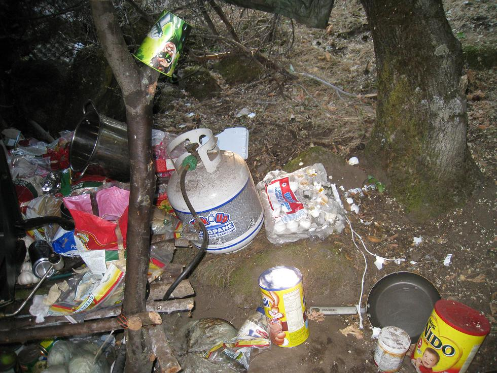 Trash at drug bust in Raymond