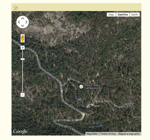 Google map of Rock Creek Campground