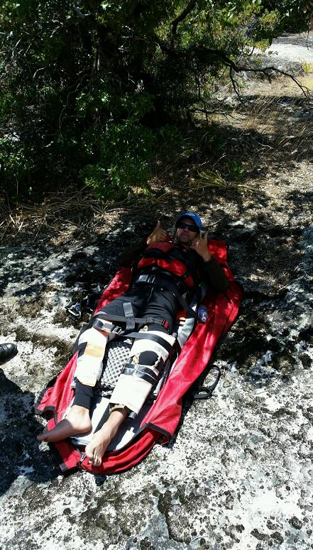 Rescued Kayaker ready for transport - photo courtesy MadCo Sheriffs Office