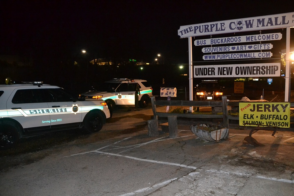 Sheriff vehicles at Purple Cow explosion 2-2-15 2