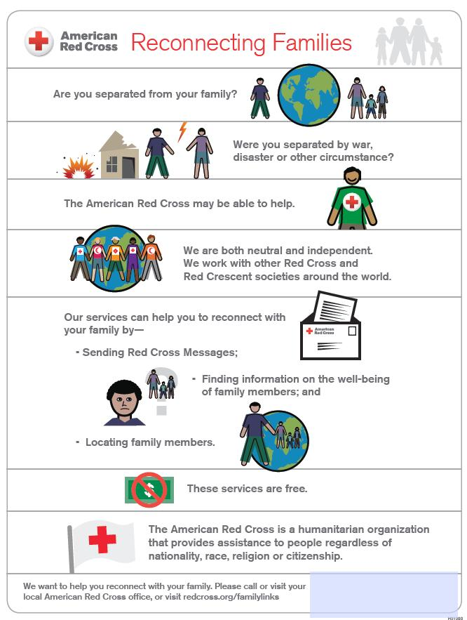Red Cross Reconnecting Families flier