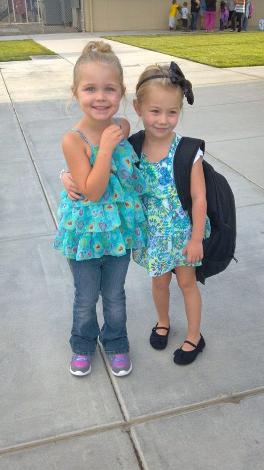 Back to School My daughter kaydence Dion left and her buddy alana randrup right both 5 yrs old
