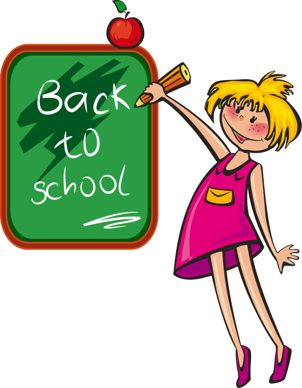 back to school girl blackboard