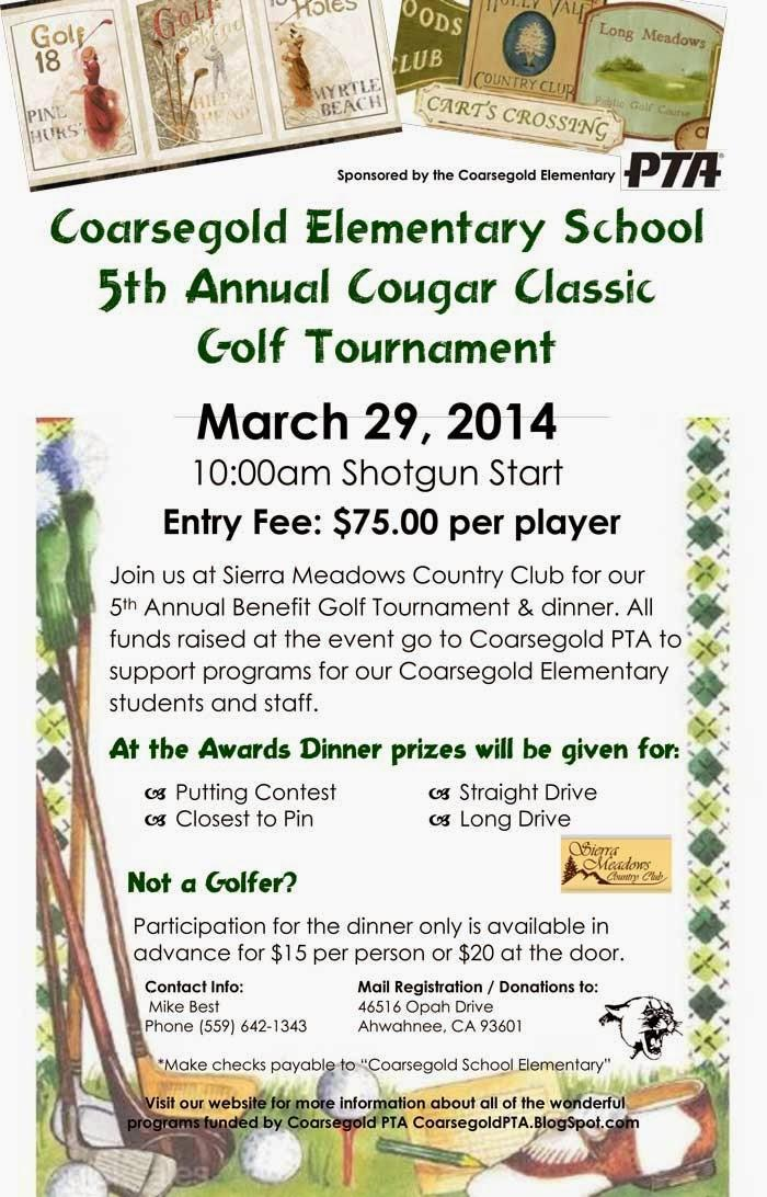 5th Annual Cougar Classic Gold Tournament flier 3-29-14