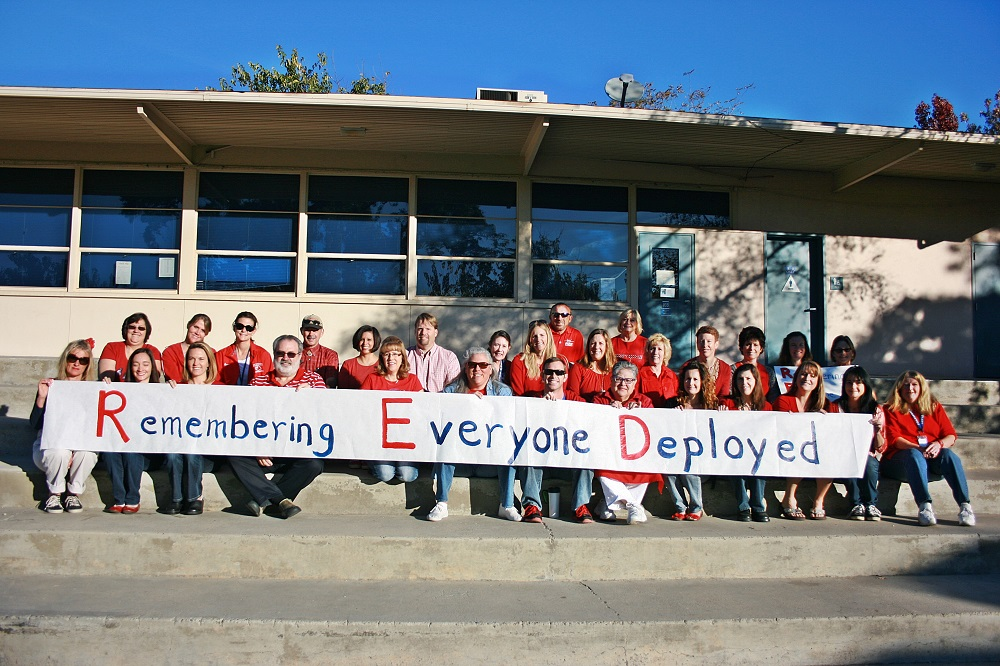 Coarsegold School staff Remembering Everyone Deployed and wearing RED - 2013 - photo courtesy of Coarsegold Elementary