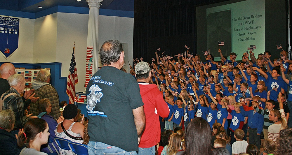 Coursegold Elementary School thanks local Veterans - November 7 2013 - Kindergarten  3rd and 5th grade classes - photo courtesy of Laurie Kenyon Coarsegold School