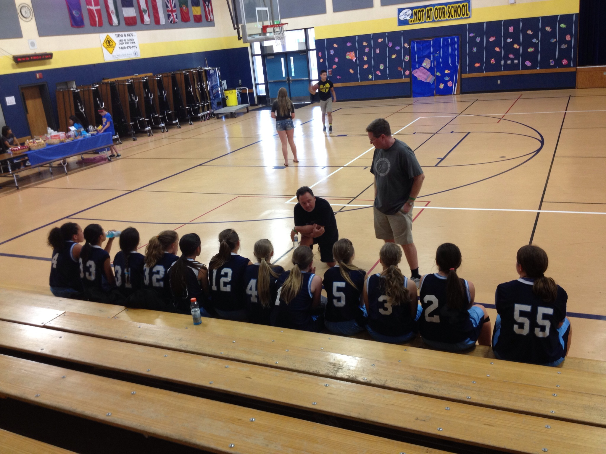 Yosemite Badgers Girls Basketball in Tahoe talk with coach - photo by Stacey Montalto 2014