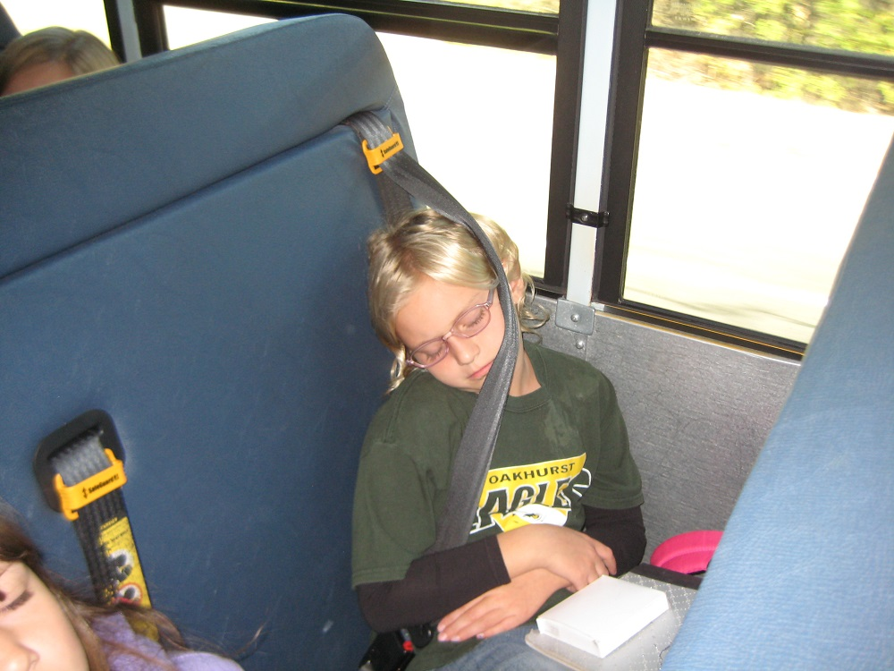 """It's only a 30 minute bus ride from Mariposa Grove back to OES, but Charlize Henson is """"bushed"""" from her outdoor adventure"""