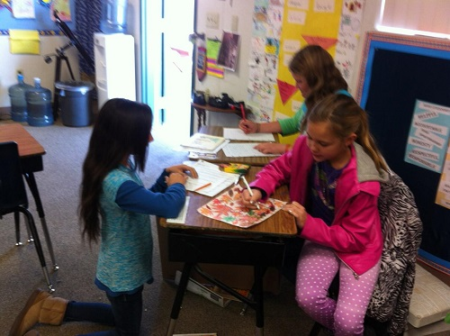 5th grade students in Mrs. Ward's class at OES work play and study together - photo courtesy of Mrs. Ward