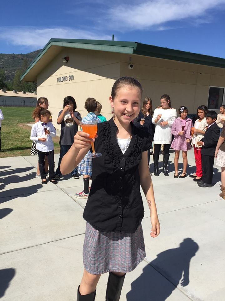 Oakhurst Elementary School 5th Grader celebrates the success of Yosemite Project 2015 - Photo courtesy of Mrs. Robin Ward, OES teacher