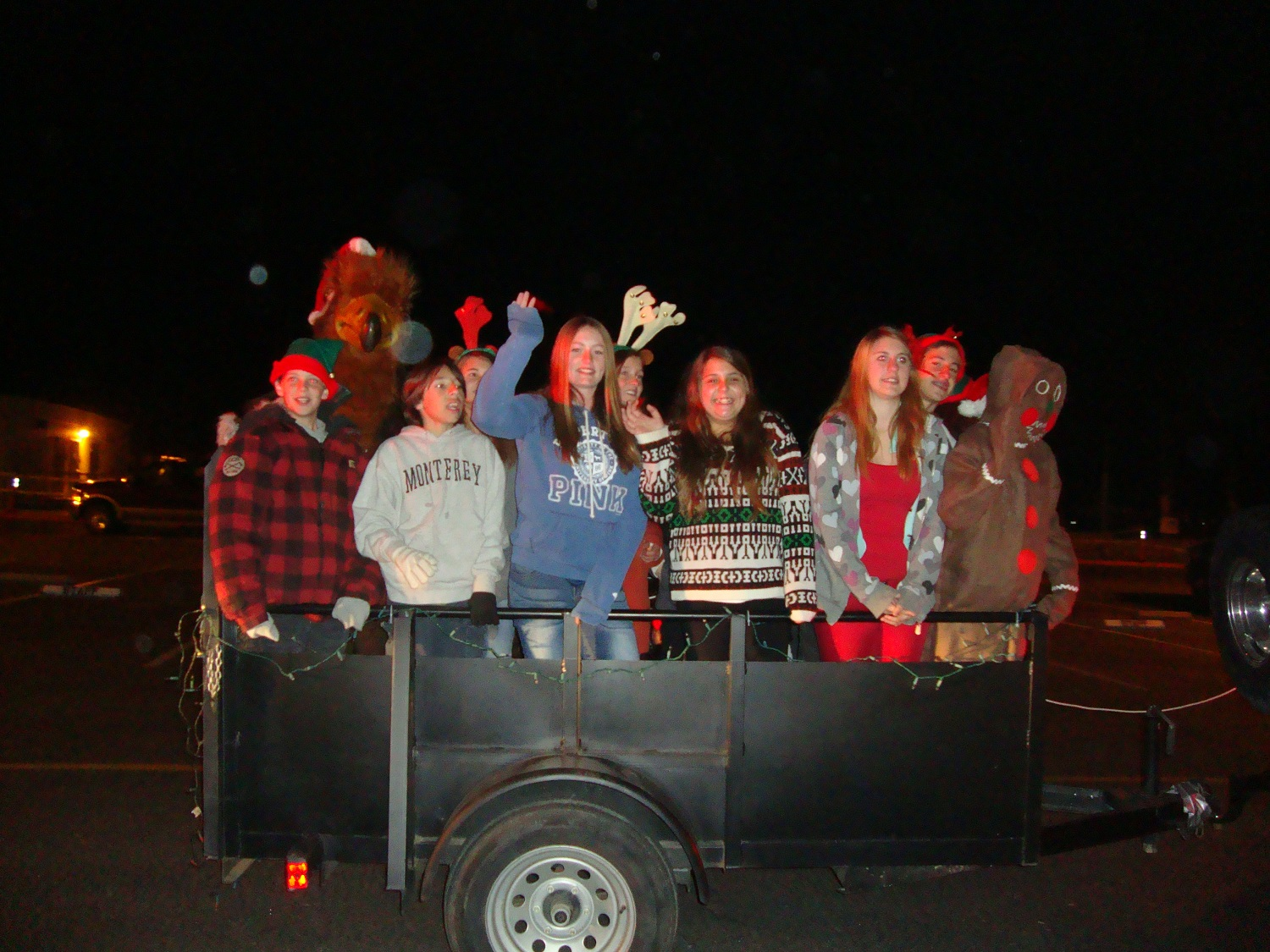 Students from Girl Scout Troop 2866 participating in the Parade of Lights Rivergold Holiday Float - courtesy of Rivergold