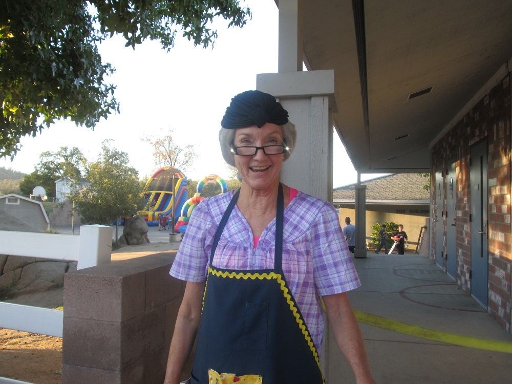 Rivergold School celebrates Hawkfest 2013 - Principal Cindy Simons dressed up as Granny   - photo courtesy Rivergold School