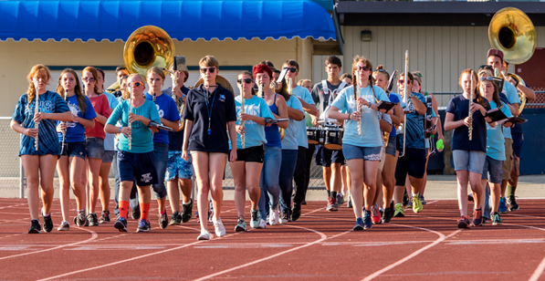YHS Badger Band at summer band camp with Drum Major Meagan Montalto in the lead - 2014 - Photo by Steve Montalto HighMountain Images
