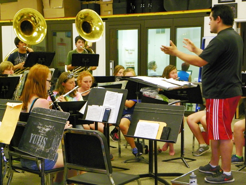 Francisco Marquez and members of YHS Badgers Band practice Aug. 2014 - photo by Clara Briley