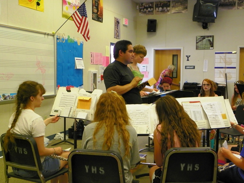 Francisco Marquez and members of YHS Badgers Band study music Aug. 2014 - photo by Clara Briley