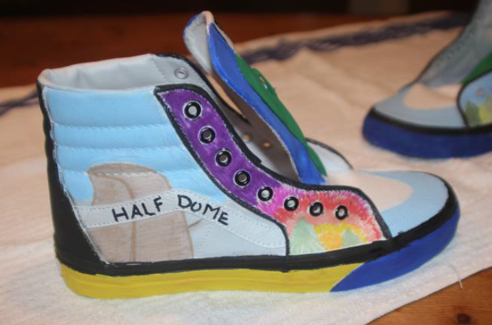 YHS Freshman Melinda Morrison works on Vans Custom Culture project in EAST Class - photo courtesy of EAST
