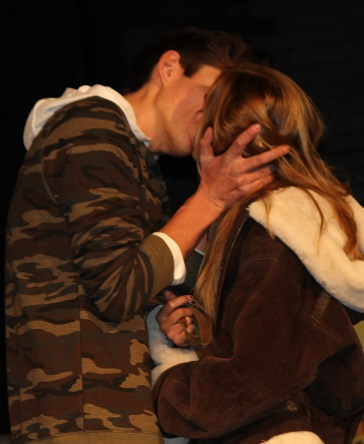 Dillon Masai and Hannah McMechan kiss in Almost Maine at Yosemite High School 2013 - photo by Chandler Clarke