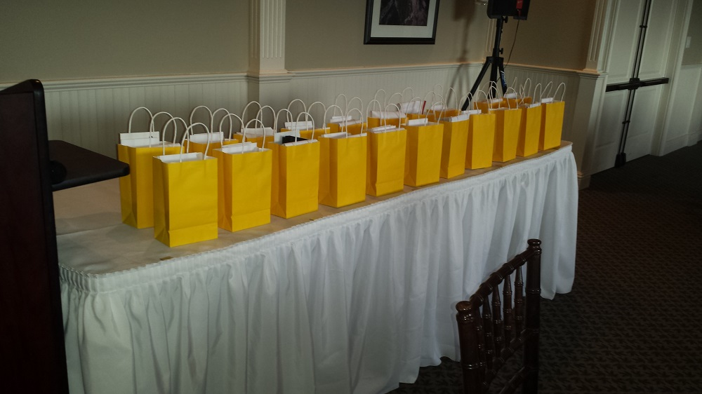 Gift Bags for grads at the Pitman Awards 2015 - photo courtesy of Laura Norman, Sierra Tel
