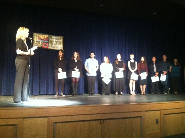 POL students on stage with Dr. Dianne Rich, past president of Madera County Arts Council