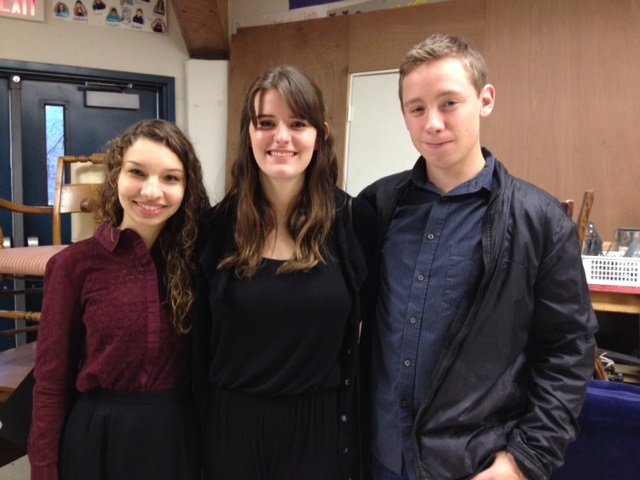 L-R Poetry Out Loud winners (3rd) Jaquie McCourt, (1st) Jocelyn Boe and (2nd) Jesse Parr