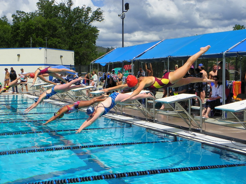 North Sequioa League - girls dive in - May 9 2014 - photo by Kellie Flanagan