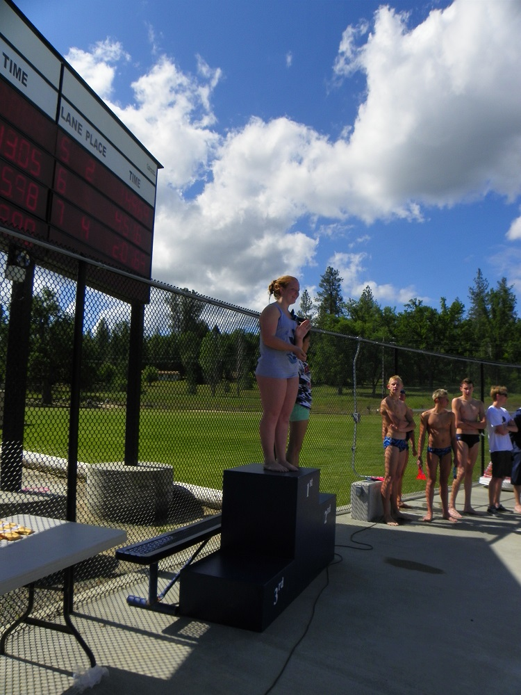 North Sequioa League May 9 2014 - Clara Briley wins 1st place in Girls Diving - photo by Kellie Flanagan