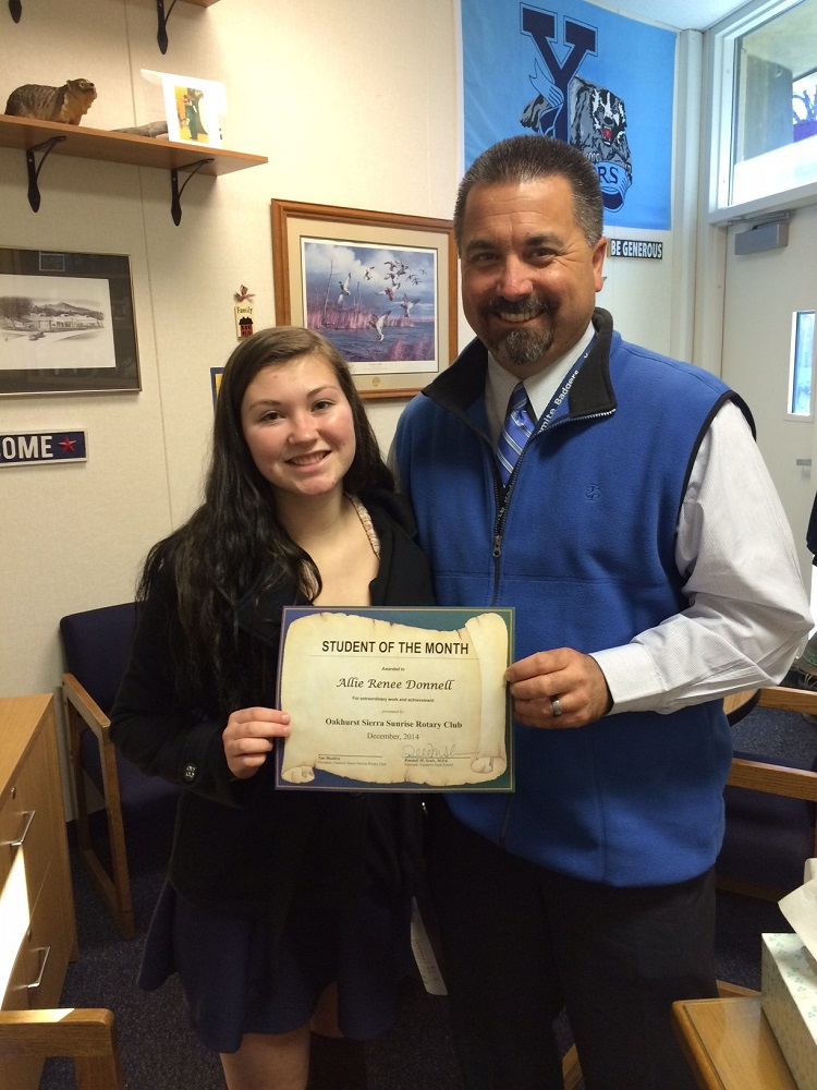 She has graciously given up her time to help other students with challenges says Allie Donnell's nomination for Student of the Month shown with Principal Randy Seals - Photo Credit YHS