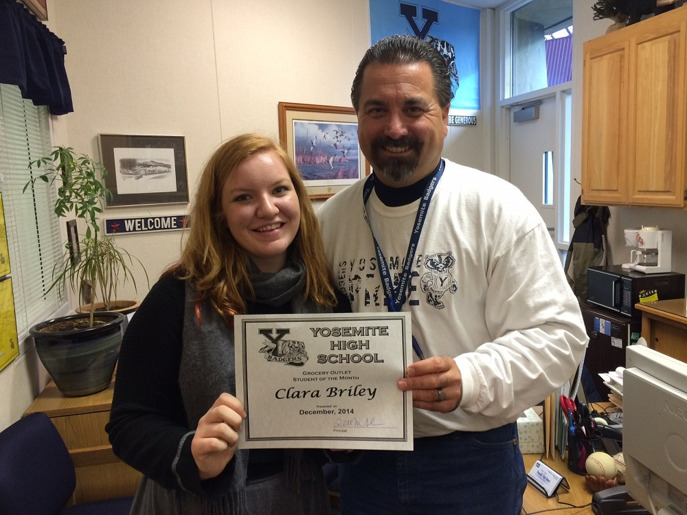 She is a powerful student reads her nomination for Student of the Month YHS junior Clara Briley shown with Principal Randy Seals - Photo Credit YHS