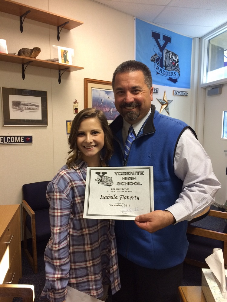 She is an excellent role model says Bella Flaherty's nomination for Student of the Month shown with Principal Randy Seals - Photo Credit YHS