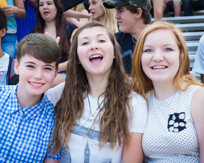 Juniors Meagan Montalto Clara Briley and Allie Donnell are happy to be back to school - photo by Virginia Lazar
