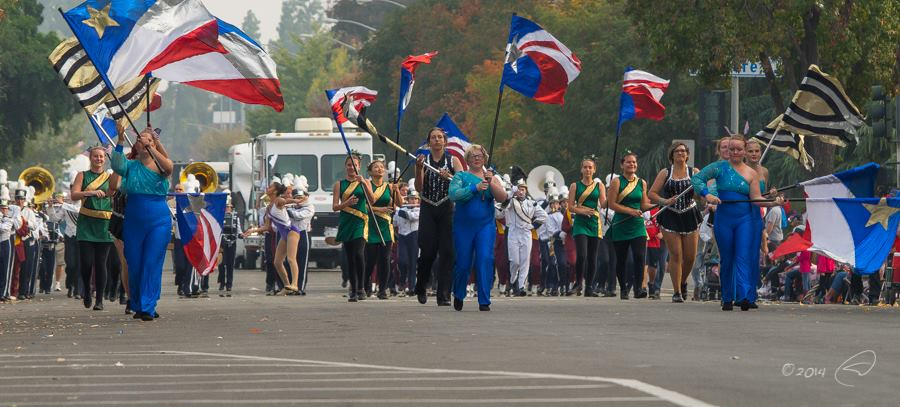 YHS Badger approaches at Veterans Day Parade in Fresno Nov 2014 photo by Steve Montato