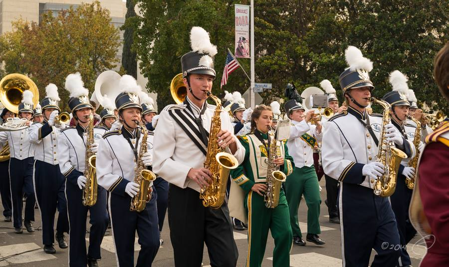 YHS Badger marching at Veterans Day Parade in Fresno Nov 2014 photo by Steve Montato