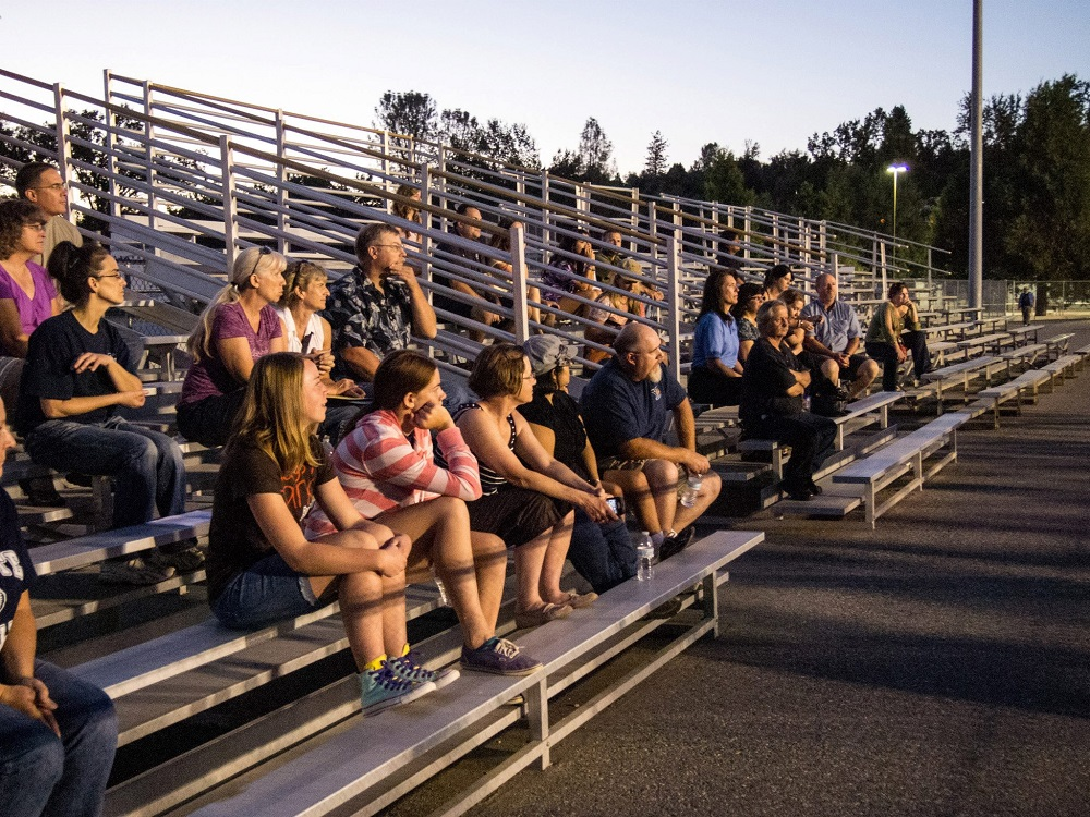 YHS Band Camp parents watch from bleachers - 2013 - photo by Steve Montalto
