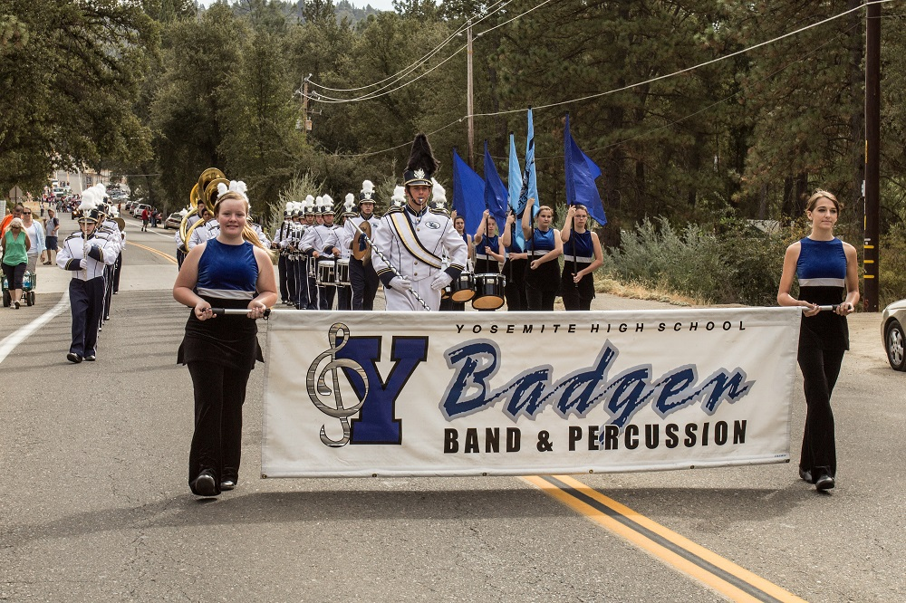 YHS Band and flag girls perform in Mountain Heritage Days parade - photo by Virginia Lazar