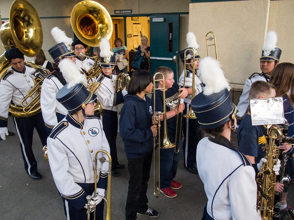 YHS Band gathers before they march down the home field on Junior High Night for the game agains Roosevelt Sept. 20 - photo by Steve Montalto