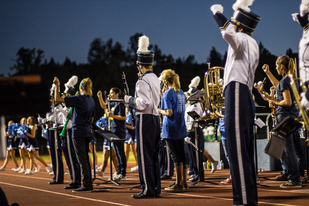 YHS Band practicing on the field for Junior High Night before for the Roosevelt Game on Sept. 20 2013 - photo by Virginia Lazar