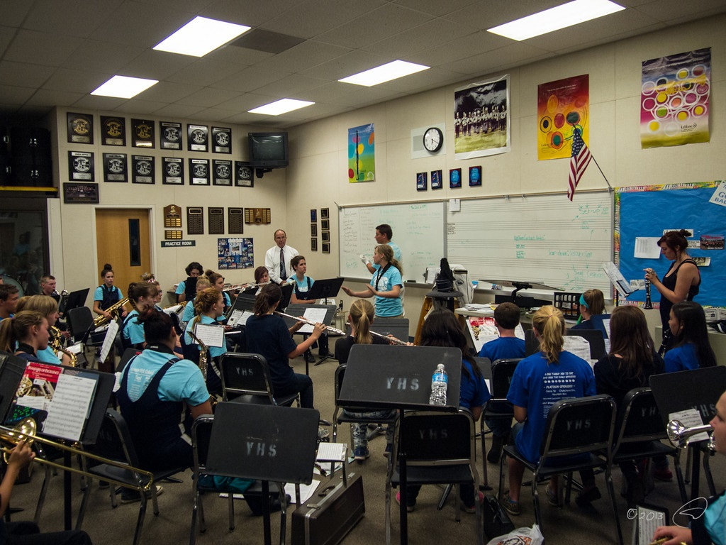 YHS Band practices with junior high students for Junior High Night Sept. 20 2013 - photo by Steve Montalto