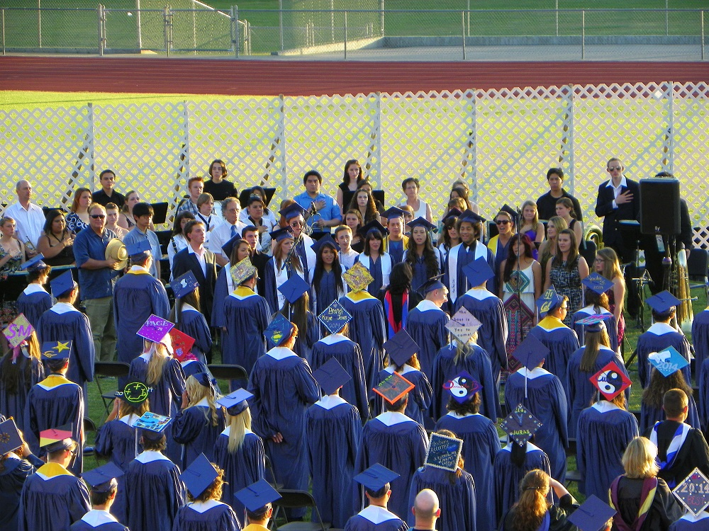 Grads and mortar boards at the YHS Graduation 2014 - photo by Clara Briley