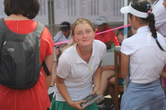 Claire Oetinger after receiving her award - photo courtesy of Rusty Oetinger 2014
