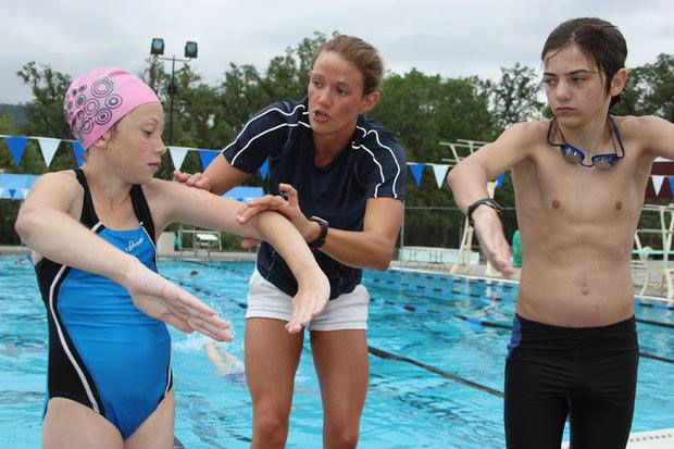 Yosemite Swim Club - worldclass swimmer Cheyenne Coffman does some coaching - 2013 - Photo Courtesy Yosemite Swim Club
