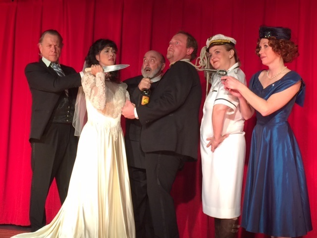 Murderous Crossing 2015 at the Golden Chain Theatre with Peter Clarke - Jennifer Piccolotti - Ken Ryder - James Mierky - Jennifer Varner - Sarah Persson and not pictured is Mark Freisen - photo by Janice Ryder GCT