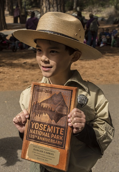 Ranger Gabriel Honorary Yosemite National Park Ranger presented with plaque during a ceremony at Yosemite Falls on March 24 2015 - photo NPS