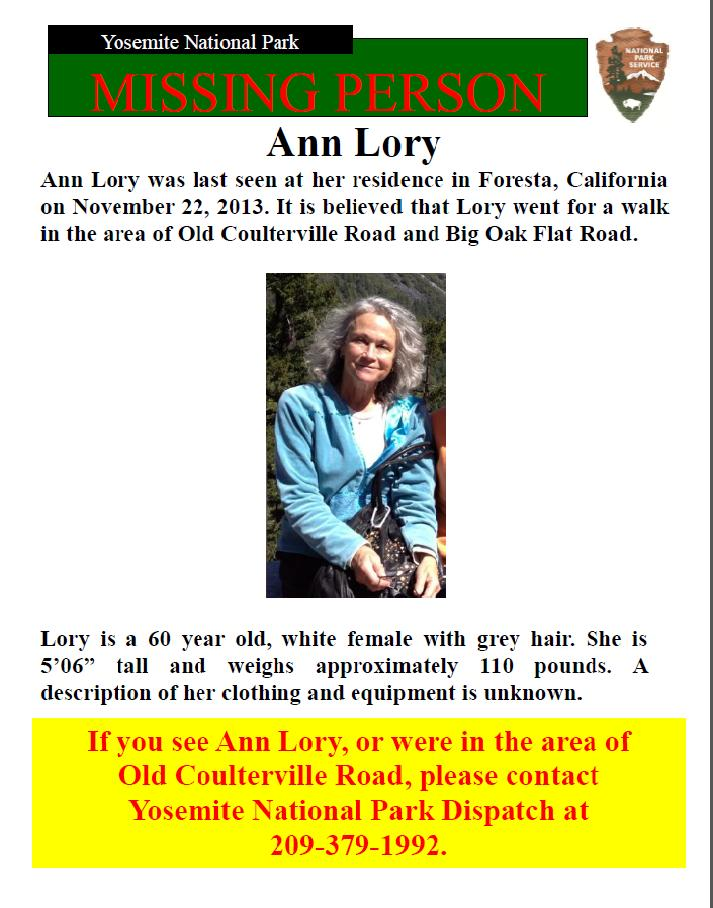 Ann Lory missing person flier