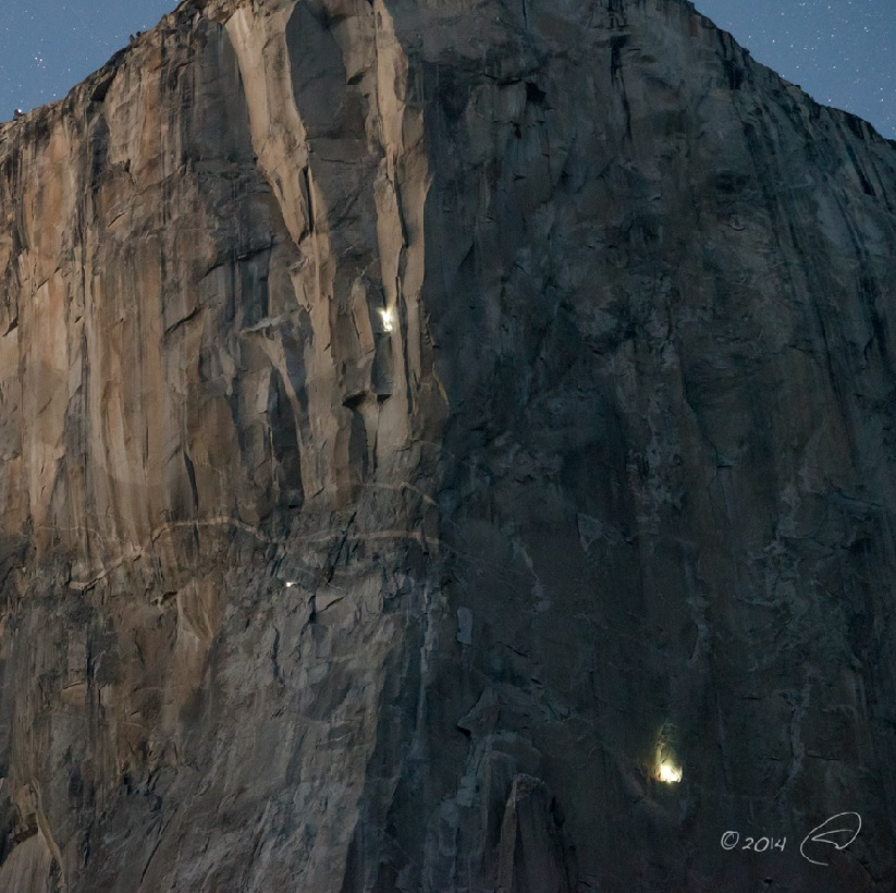 Dawn Wall night November 2014 - the bright light on the lower right is Jorgenson and Caldwell - photo by Steve Montalto HighMountain Images 2015
