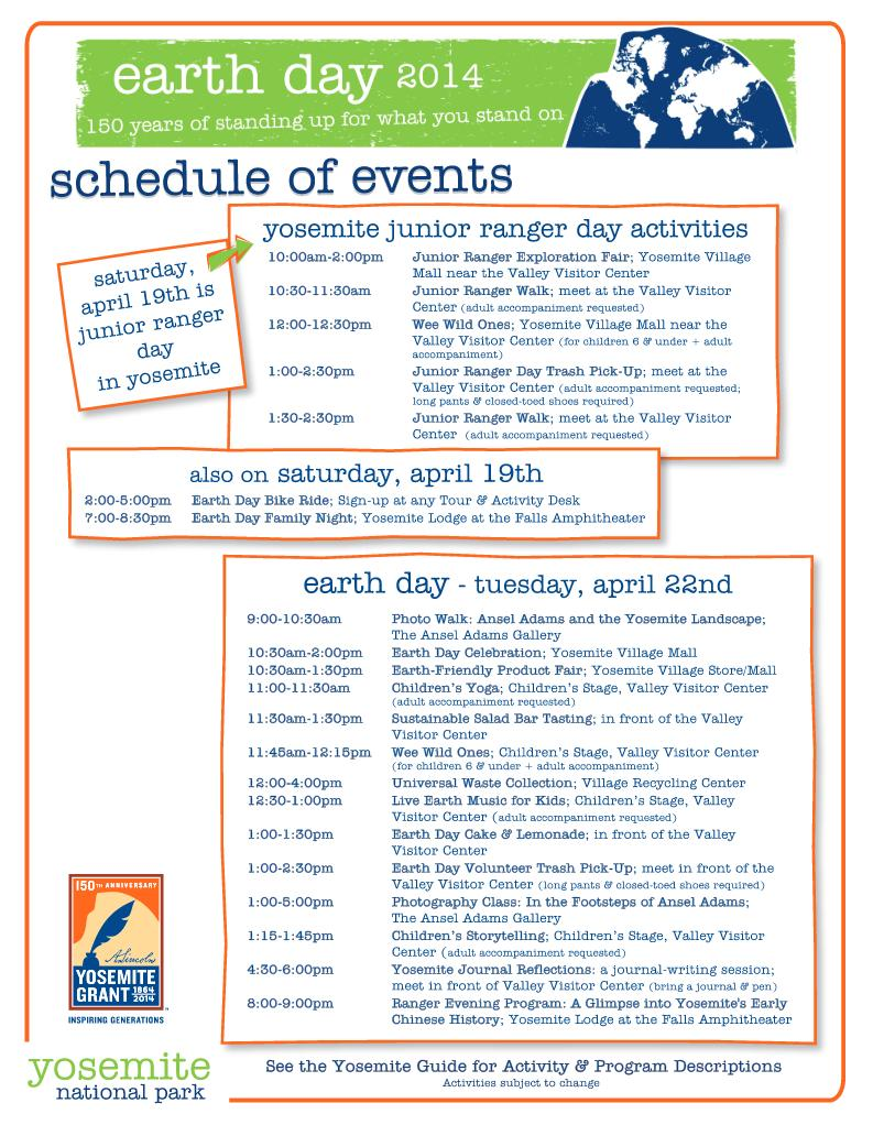 Earth Day in Yosemite 2014 schedule